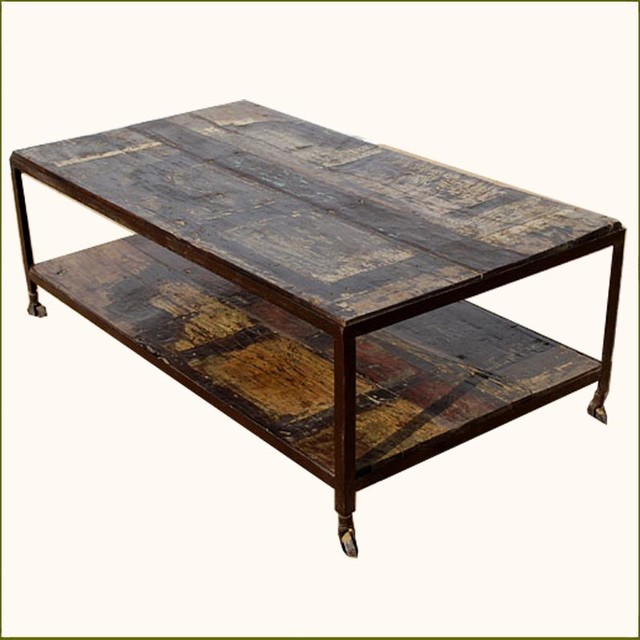 Rustic walnut weathered two tier coffee table on rollers contemporary coffee tables austin Rustic iron coffee table