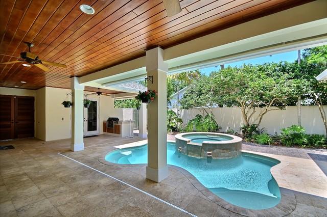 Design Projects - Jasmine Courtyard Home - Vero Beach - Shanghai Green Antiques beach-style-pool
