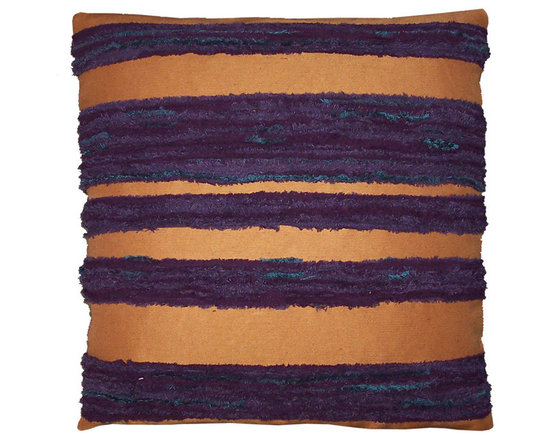Designer Chenille Pillow Cover in Gold and Purple - High-end Custom and Ready made pillows available on-line. Contemporary Pillow Covers of Shrunken Wool and Reclaimed Fabrics Appliqued to a Linen Ground. Only two Available.   Couture Custom Workroom Services Available. Artisanaworks