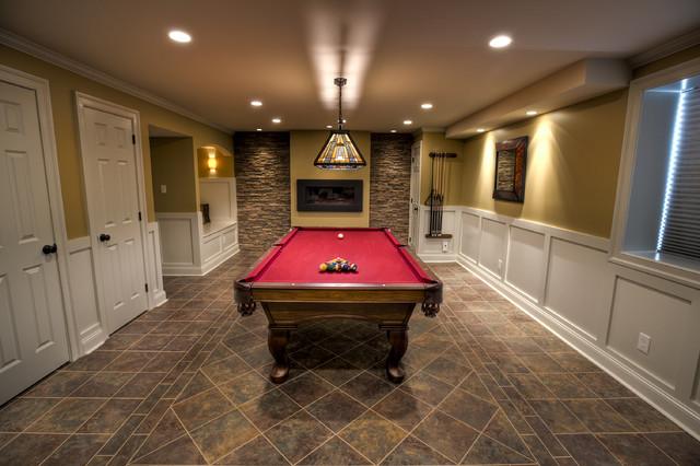 Billiards Room Traditional Basement Philadelphia
