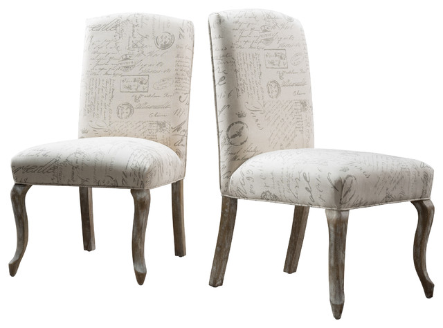 Zaira French Fabric Dining Chairs Set of 2 French