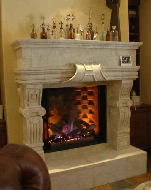 Stone fireplace mantels mediterranean indoor for Mediterranean fireplace designs