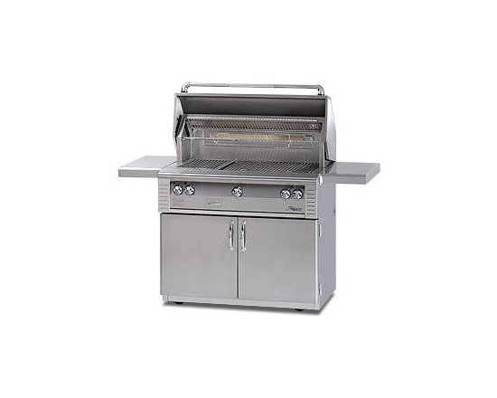 Alfresco 42'' Lx2 Grill On Cart: Stainless Liquid Propane | ALX242SZRFG-LP - Three high-temp stainless steel main burners producing 82,500 BTUs. Integrated rotisserie with built-in motor & 18,500 BTU infrared burner.