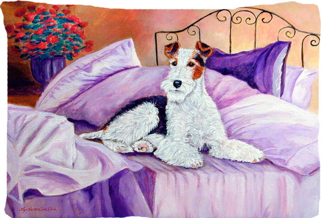 Fox Terrier Waiting On Mom Fabric Standard Pillowcase Moisture Wicking Material traditional-shams