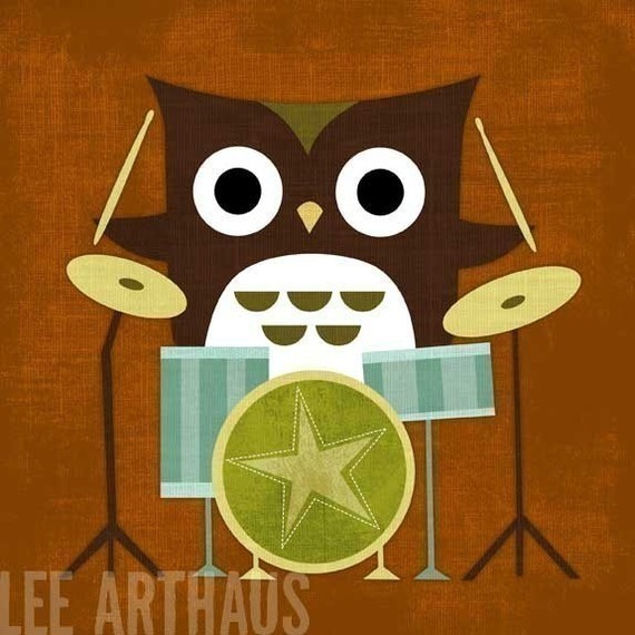 Retro Owl With Drums Print By Lee ArtHaus contemporary nursery decor