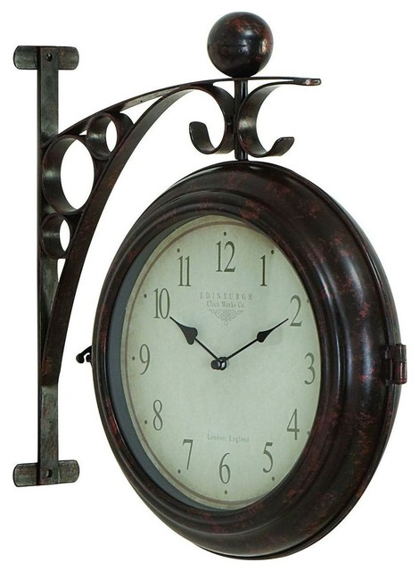 Metal Wall 2 Side Clock Designed with Antique Look traditional-wall-clocks