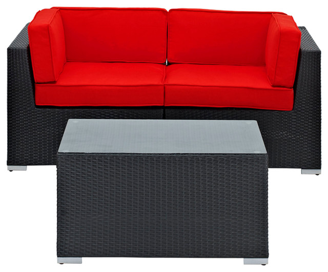 Camfora Outdoor Wicker Patio 3 Piece Sofa Set in Espresso with Red Cushions modern-outdoor-sofas