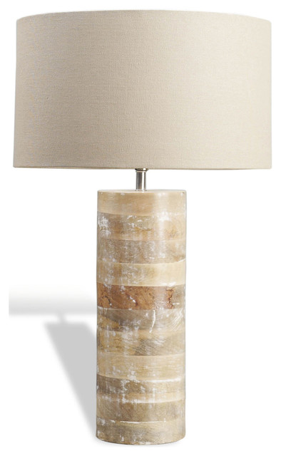Sagamore Modern Rustic White Wash Wood Lamp transitional-table-lamps