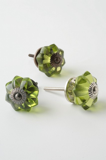 Glass Melon Knob, Brass eclectic knobs