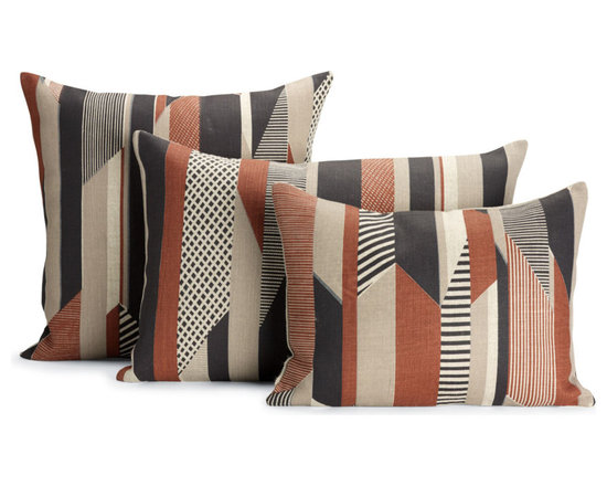 "Textured Stripe Pillow, Brown  | Designed by Tamasyn Gambell - After graduating from the Royal College of Art and Design in London, textile designer Tamasyn Gambell headed to Paris, where she mastered her trade at couture houses such as Sonia Rykiel and Louis Vuitton. In 2007 she relocated to Stockholm to explore the opposite end of the spectrum as a print designer for H&M, launching her own company a year later. A true contemporary modernist, Gambell believes that good design and green design go hand in hand. ""I use the most eco-friendly materials and processes,"" she says, ""as I believe that designers have a responsibility to the environment and that being green does not have to compromise style or quality."" In creating her Textured Stripe Pillow (2012), Gambell was inspired by the colors and energy of tribal textiles and the shapes and simplicity of iconic Bauhaus design. The result is a collection of throw pillows that defy the whims of fashion. The fabric is sourced from one of the last linen mills in Ireland and printed by Gambell and her team in South London. Made in the U.K."