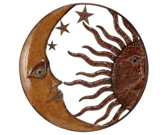 """Benzara - Copper Sun Moon and Star Wall Art Decor Sculpture - Copper Sun Moon and Star Wall Art Decor Sculpture. Class Steelic metal art piece for any home decor. Catch the new trend in home furnishing. Dimension: 21""""D."""