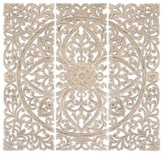 Set Of 3 Carved Wood Wall Panels Antique White Floral Home