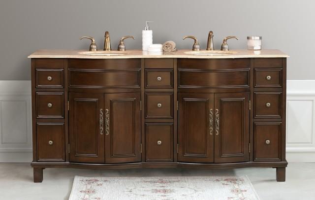 Virtu usa 72 cathy espresso travertine double sink bathroom vanity traditional bathroom - Traditional bathroom vanities double sink ...
