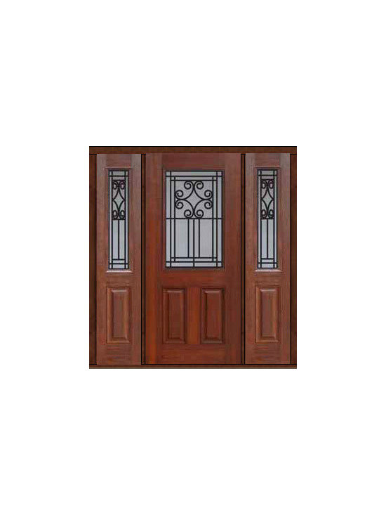 "Prehung Sidelights Door 80 Fiberglass Novara 1/2 Lite GBG Glass - SKU#    MCT012WN_DFHNG1-2Brand    GlassCraftDoor Type    ExteriorManufacturer Collection    1/2 Lite Entry DoorsDoor Model    NovaraDoor Material    FiberglassWoodgrain    Veneer    Price    3780Door Size Options    32"" + 2( 14"")[5'-0""]  $032"" + 2( 12"")[4'-8""]  $036"" + 2( 14"")[5'-4""]  $036"" + 2( 12"")[5'-0""]  $0Core Type    Door Style    Door Lite Style    1/2 LiteDoor Panel Style    2 PanelHome Style Matching    Door Construction    Prehanging Options    PrehungPrehung Configuration    Door with Two SidelitesDoor Thickness (Inches)    1.75Glass Thickness (Inches)    Glass Type    Double GlazedGlass Caming    Glass Features    Tempered glassGlass Style    Glass Texture    Glass Obscurity    Door Features    Door Approvals    Energy Star , TCEQ , Wind-load Rated , AMD , NFRC-IG , IRC , NFRC-Safety GlassDoor Finishes    Door Accessories    Weight (lbs)    527Crating Size    25"" (w)x 108"" (l)x 52"" (h)Lead Time    Slab Doors: 7 Business DaysPrehung:14 Business DaysPrefinished, PreHung:21 Business DaysWarranty    Five (5) years limited warranty for the Fiberglass FinishThree (3) years limited warranty for MasterGrain Door Panel"