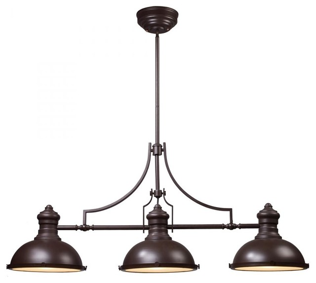 Three Light Oiled Bronze Pool Table Light Contemporary Pendant Lighting