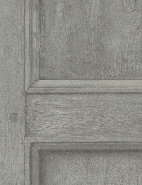 Traditional Aged Wood Panel Wallpaper - Grey transitional-wallpaper