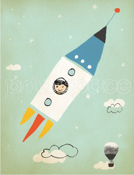 Rocket Boy Art Print contemporary-artwork