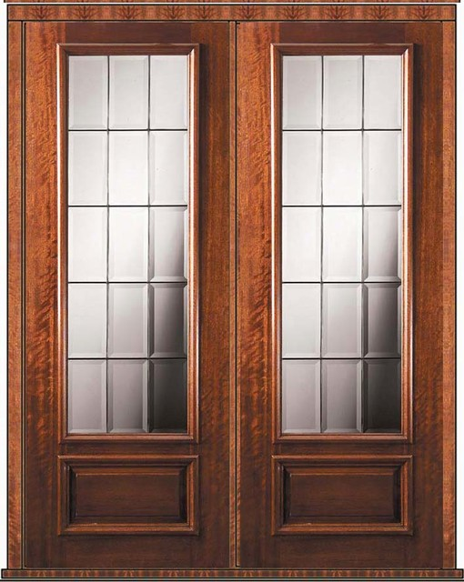 Pre hung french double door 96 wood mahogany french 3 4 for Double hung exterior french doors