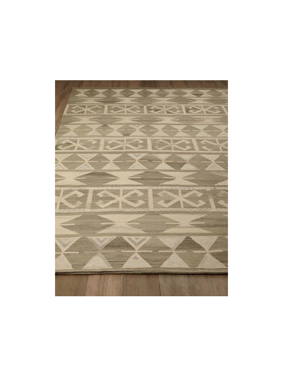 "Horchow - ""Wakita"" Rug - A tribal-inspired motif rendered in neutral tones makes this rug ideal for casual settings, or use it to bring drama to more formal settings. Hand knotted of wool. Sizes are approximate. Imported. See our Rug Guide for tips on how to measure for..."