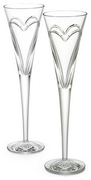 """Waterford Two """"Wishes, Love, & Romance"""" Flutes traditional-wine-and-bar-tools"""