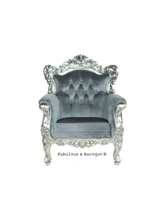 Belle de Fleur Chair - Silver & Grey - This breathtaking chair will reaffirm your status as royalty in your own home. The sumptuous Belle de Fleur Chair features an intricately carved mahogany frame finished in silver leaf, and luxurious charcoal velvet upholstery. This fabulous Belle de Fleur chair is eloquently carved with 3 dimensional carvings on both the front and back so the chair looks fantastic no matter where you decide to place it. Deck out your castle in the dramatic details of an opulent era.