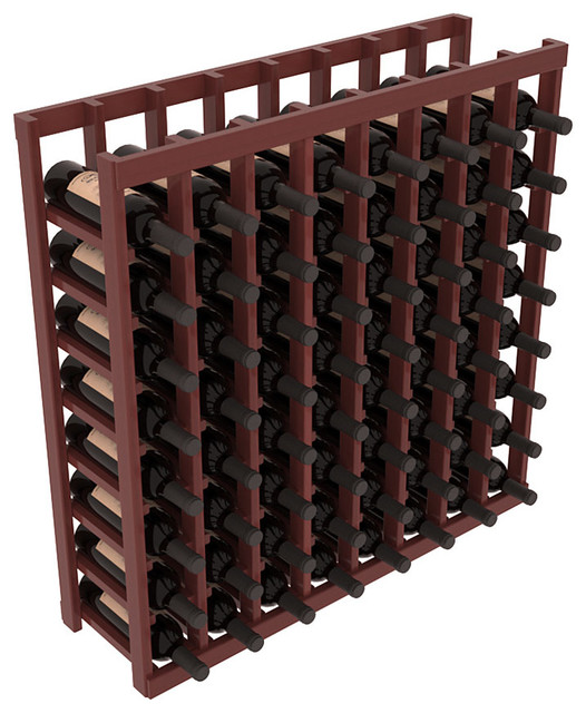 8 Column Tasting Table in Redwood, Cherry + Satin Finish contemporary-wine-racks