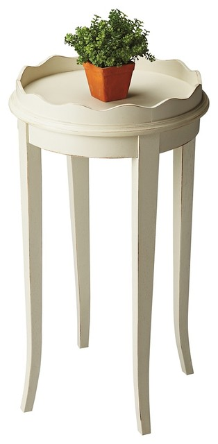 Country Cottage Cottage White Wood Round Accent Table Traditional Side Tables And End