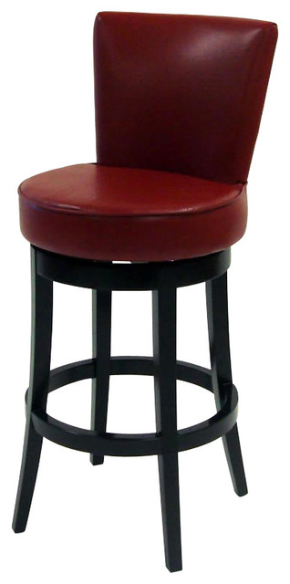 Armen Living Boston 30 Inch Red Bicast Leather Swivel