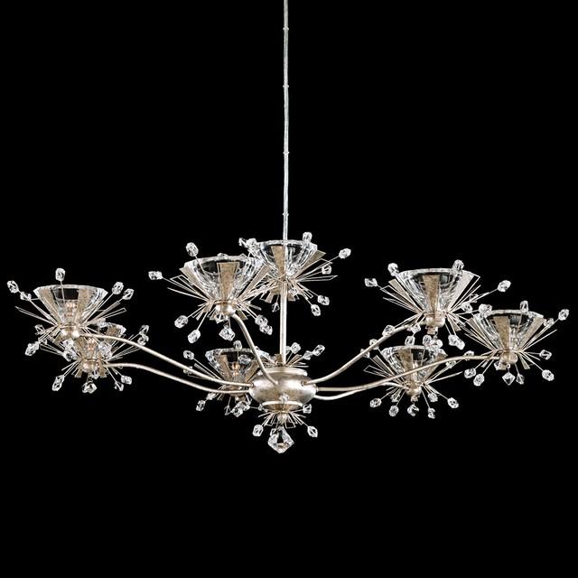 "Contemporary Schonbek Estella Antique Silver 35"" Wide"