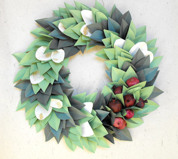 Holiday Christmas Paper Wreath by Moonflower Nature Art contemporary-holiday-outdoor-decorations