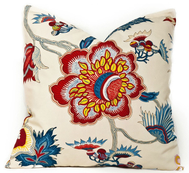 Garden Gorgeous, Navy and Red eclectic-pillows