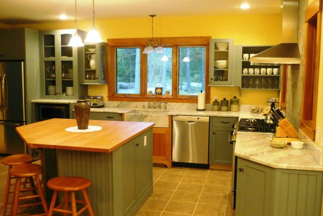 Yellow Green Kitchen : Kitchen in cherry, marble, green and yellow - Traditional - Kitchen ...