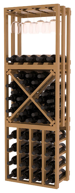 Lattice Stacking Cube - 3 Piece Set in Pine with Oak Stain + Satin Finish traditional-wine-racks