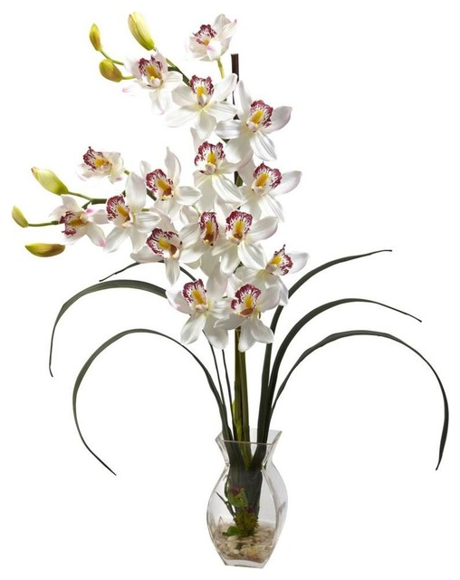White Cymbidium Orchid Arrangement contemporary-artificial-flowers-plants-and-trees