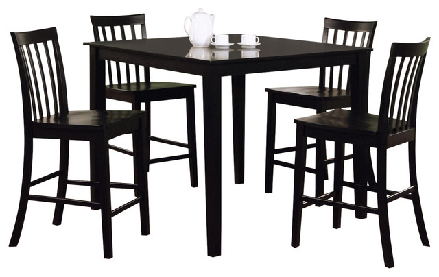 Casual Black Wood Ashland 5 PC Counter Height Square Table