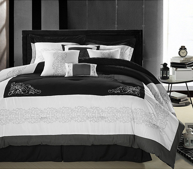 Florence BlackWhite Queen size Oversized 8 piece
