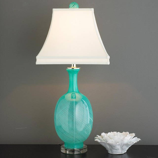 Aqua Swirl Glass Table Lamp Lamp Shades By Shades Of Light