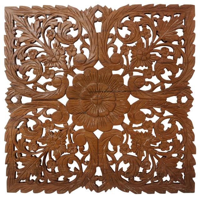 Wood Inlay Wall Decor : Lotus teak wood inlay wall panel modern