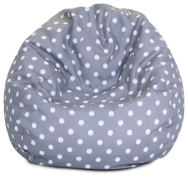 Outdoor Gray Ikat Dot Small Bean Bag Contemporary Bean