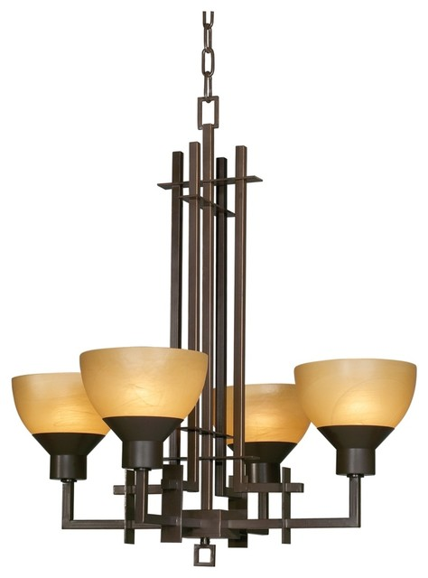 Arts and Crafts - Mission Metro Collection Quartet Four Light Chandelier modern-chandeliers