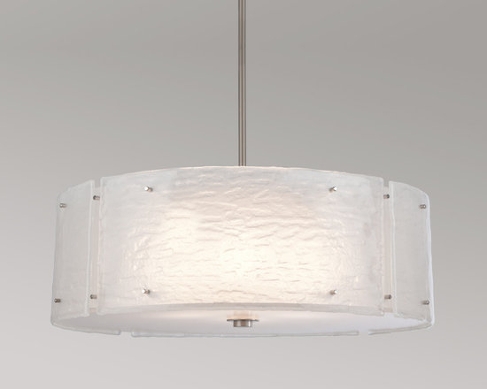 Hammerton - Textured Glass Chandelier - Textured Glass Chandelier is available in a Flat Bronze or Metallic Beige Silver finish with Strata, Lattice or Granite glass. Available as a small or large. Strata evokes an organic aesthetic of geologic layers. Lattice captures the soothing pattern of traditional hand-woven textiles. Granite echoes the rugged texture of hand-hewn stone. The Textured Glass collection lets you bring the reassuring warmth and authenticity of an artisan's hand to any room in your home. Four 100 watt, 120 volt A19 type Medium base Incandescent lamp is required but not included. Small: 24 inch width x 8 inch height x 29 inch length. Large: 30 inch width x 8 inch height x 29 inch length.