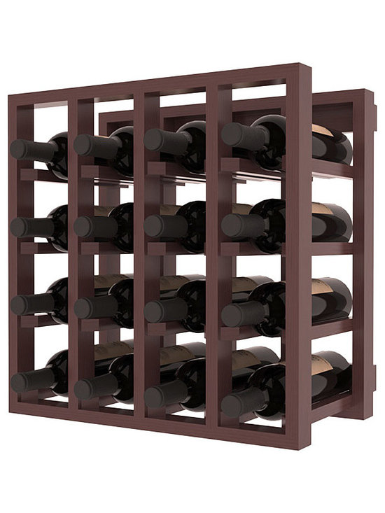 Lattice Stacking Wine Cubicle in Pine with Walnut Stain + Satin Finish - Designed to stack one on top of the other for space-saving wine storage our stacking cubes are ideal for an expanding collection. Use as a stand alone rack in your kitchen or living space or pair with the 20 Bottle X-Cube Wine Rack and/or the Stemware Rack Cube for flexible storage.