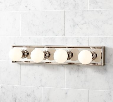 Mercer vanity 4 bulb light panel polished nickel finish for Traditional bathroom vanity lights