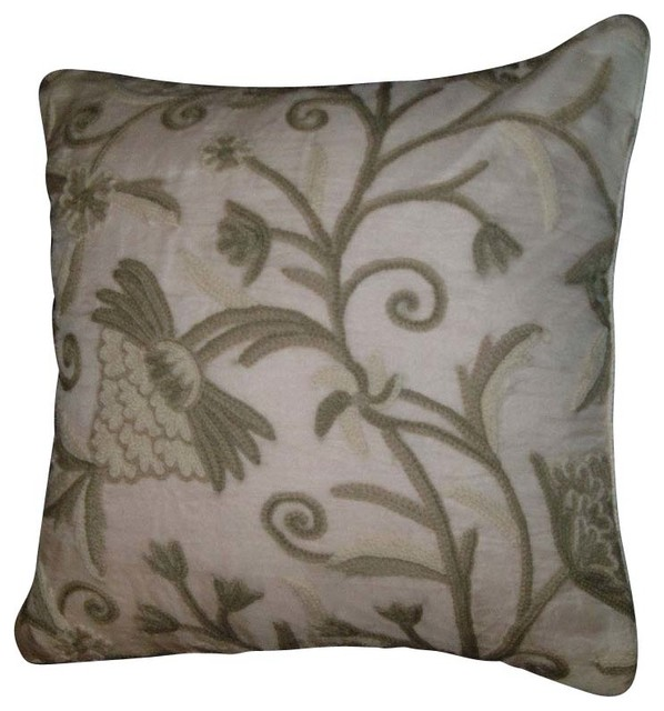 Crewel Pillow Tree of Life Neutrals on White Organza (16x16) craftsman-bed-pillows