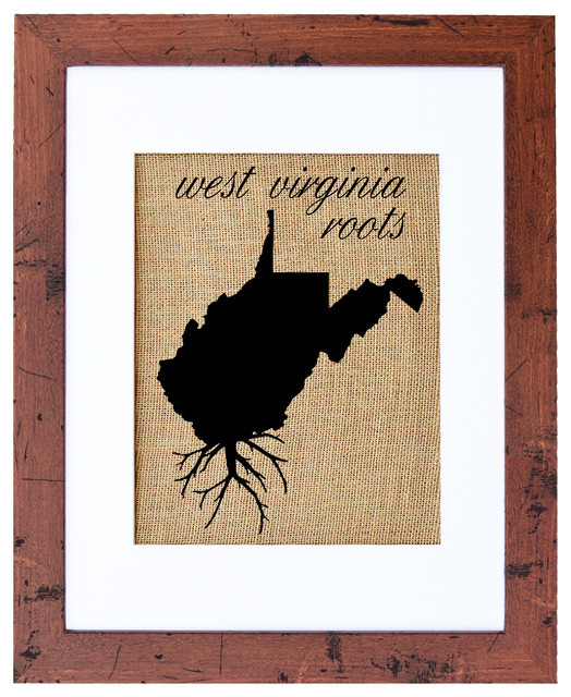 Rustic Burlap Wall Decor : West virginia roots burlap wall art decor rustic walnut