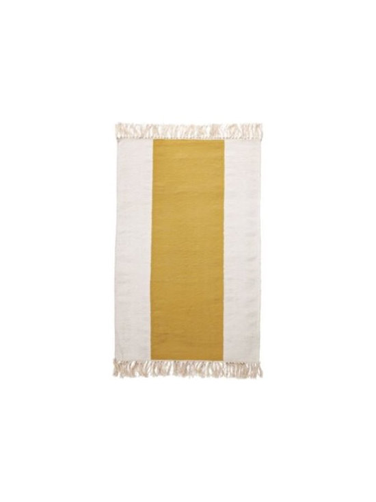 Serena & Lily - Mustard Broad Stripe Bath Dhurrie - Equally at home in the bath, kitchen or entryway, this rug has an easy, welcoming style. The smooth, flat weave so inviting on bare feet brings a fresh design element to the room. A hand-knotted fringe adds a textural twist.