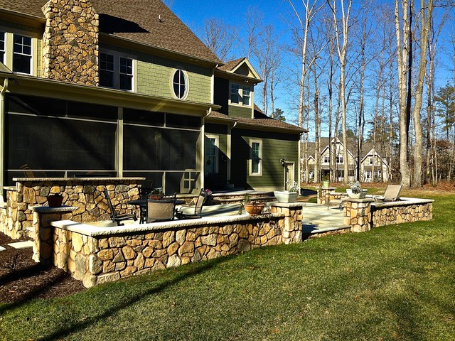 Cultured Stone Wall And Patio Outdoor Kitchen Rustic