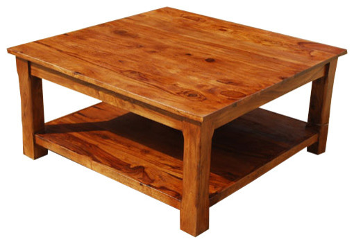 Square Coffee Table 2 Tier Solid Wood Furniture Rustic Coffee Tables