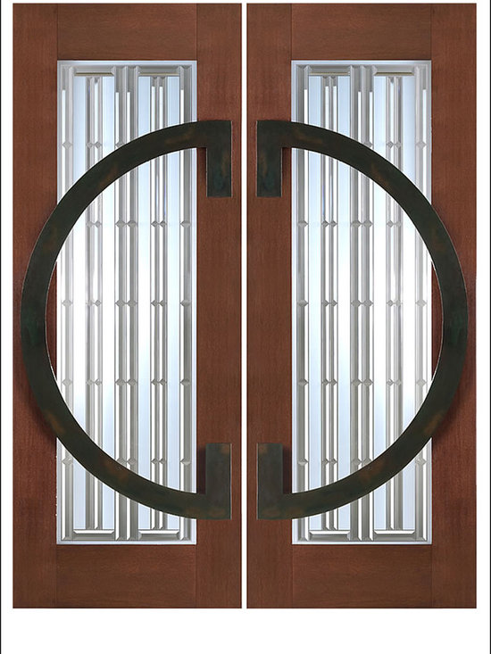 """AAW Inc. - Contemporary Entry Door Model NW-1664 - Model NW-1664 from our New World Collection. Door is solid Mahogany, 2-1/4"""" thick with decorative glass and iron work on the outside."""