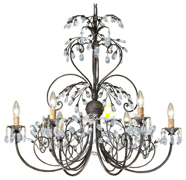 Antique Iron Art and Crystal Chandelier -6 lights contemporary-chandeliers